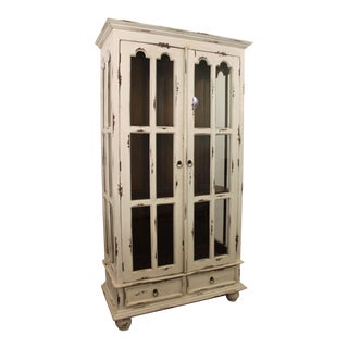 Country French Distressed Painted Cabinet