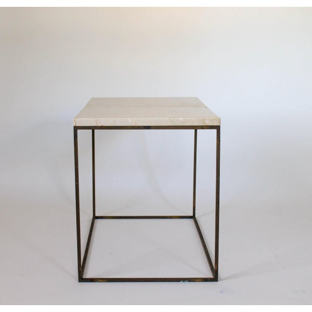 Rectangular Brass & Travertine Table - Image 5 of 11
