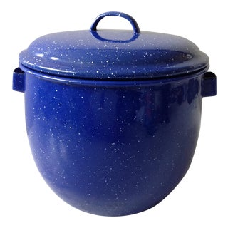 French Country Cobalt Blue Enamel Pot