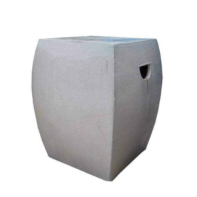 Off White Square Chinese Ceramic Garden Stool - Image 3 of 5