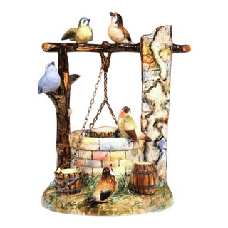 19th Century Hand-Painted Barbotine Well Sculpture With Birds Signed J. Massier