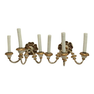 Gesso & Giltwood Three Arm Sconces - A Pair