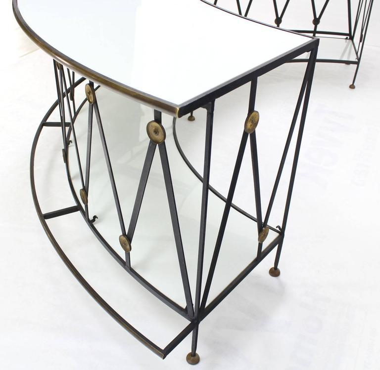 Gorgeous Wrought Iron Brass Milk Glass Half Round Bar Serving Table   Image  5 Of 10