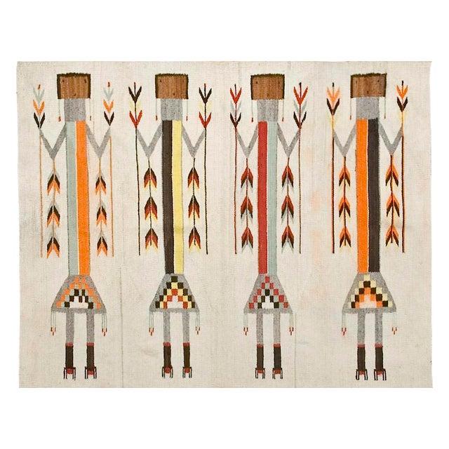 Image of Antique Navajo Style Kilim Rug - 3′7″ × 5′