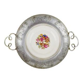 Vintage Limoges Farberware Triumph Hand Wrought Aluminum & Porcelain Dish