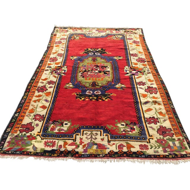 """Vintage Hand Knotted Anatolian Rug - 5'1"""" x 8' - Image 1 of 8"""