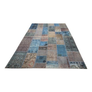 Vintage Turkish Overdyed Patchwork Oushak Distressed Rug - 6′7″ × 10′