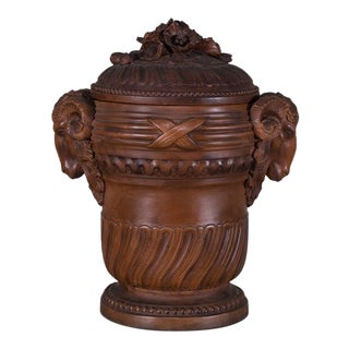 Antique French Terra Cotta Vessel and Lid circa 1885