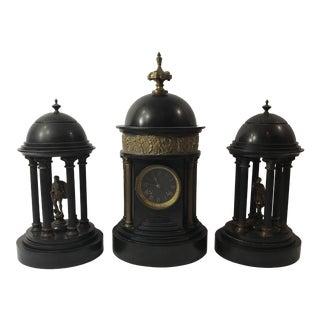 Antique Doré Bronze Black Clock - Set of 3