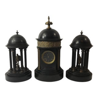 Antique Doré Bronze Black Clock - Set of 3
