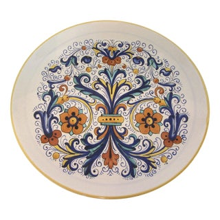 """13.5"""" Round Italian Faience Serving Plate"""