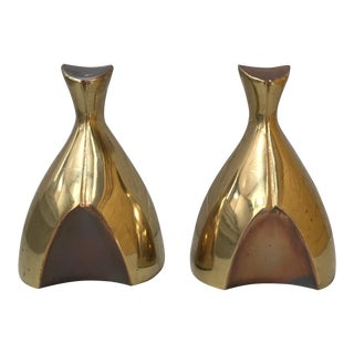 Norman Bleckner Design Tuscan Ware Brass Bookends - a Pair