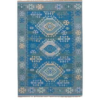 """Vintage Turkish Denim Blue and Beige Accent Kilim Rug - 60"""" x 96"""""""
