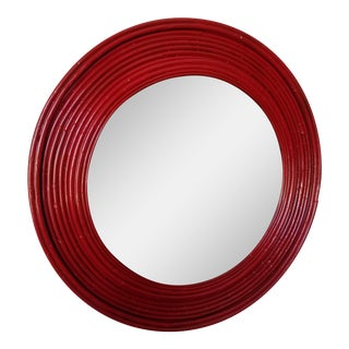 Round Red Glossy Rattan Mirror