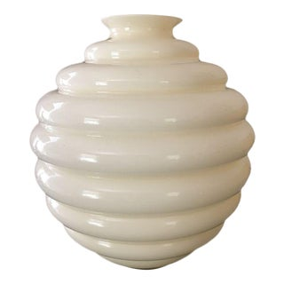 Cream Venini Deco Murano Vase