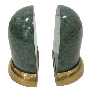 Green Marble & Brass Bookends - A Pair