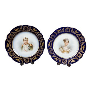 Antique Sevres Imperial Hand Painted Napoleon & Josephine Plates - A Pair