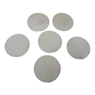 White Leather & Cowhide Coasters - Set of 6