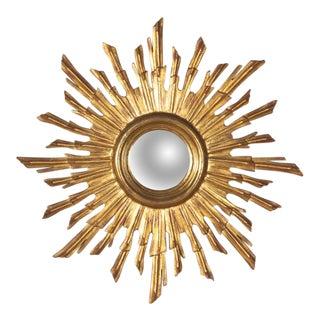 French Giltwood Convex Sunburst Mirror, 1950s