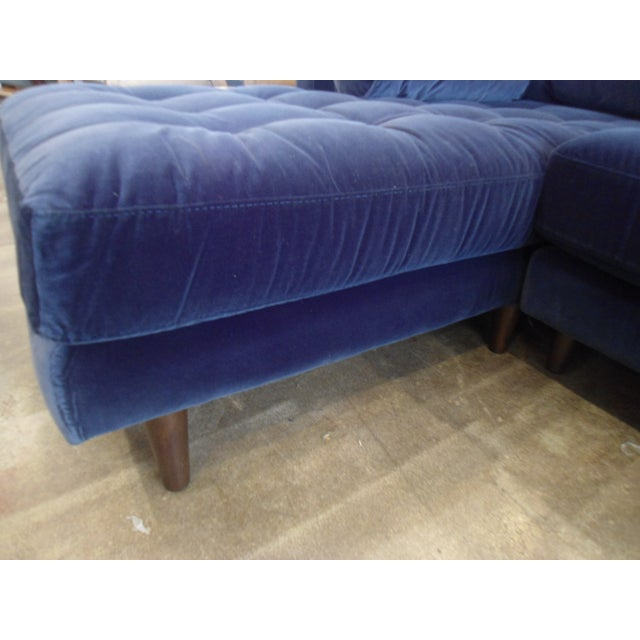Navy Blue Velvet Sectional W/ Tufted Seat, Left Chaise - Image 5 of 6