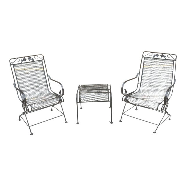 Woodard Springer Patio Chairs & Ottoman - Image 1 of 6