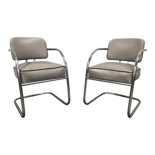 Kem Weber Art Deco Chrome Lounge Chairs - A Pair