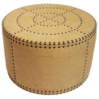 Burlap Brass Studded Round Ottoman
