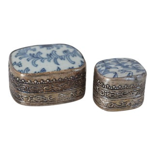 Silver Banded Porcelain Pill Boxes, Pair