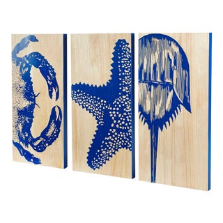 Royal Blue Crustacean Trio Hardwood Panels- Set of 3