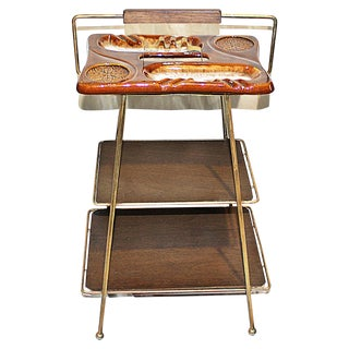 Mid-Century Modern Metal & Ceramic Smoking Stand