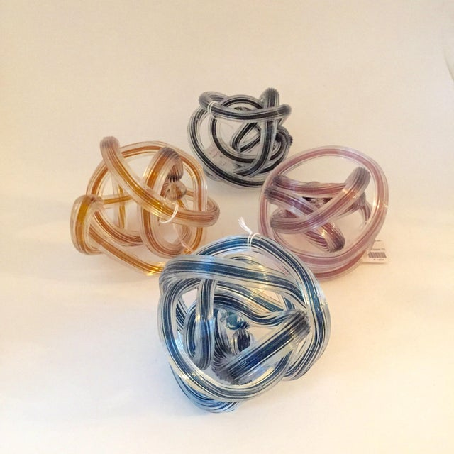 Murano Style Colored Glass Yarn Knots - Set of 4 - Image 2 of 5
