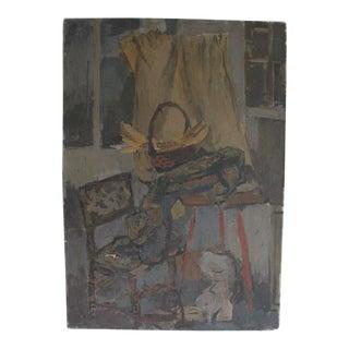 Kitchen Scene Vintage Oil Painting