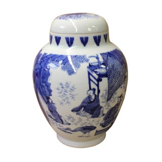 Chinese Blue White Porcelain People Theme Urn Jar Container