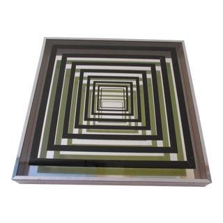 Vintage Vasarely Style Mirrored Op Art