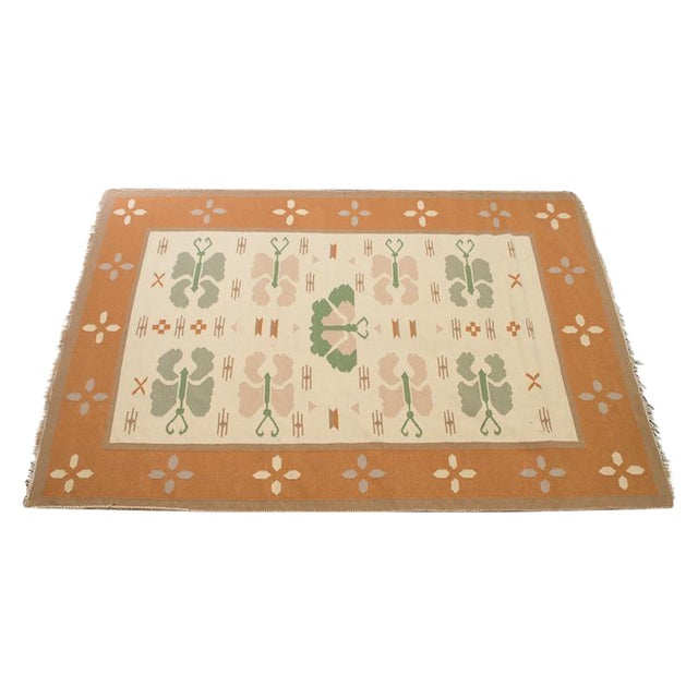 Butterfly Dhurrie Handoven Wool Rug - 5′7″ × 8′5″ - Image 1 of 6