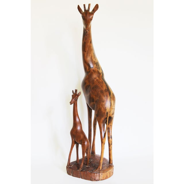 Image of African Mother and Child Giraffe Carving