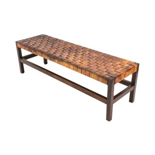 Patinated Woven Leather Bench