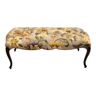 French 19th Century Scalloped Frame Walnut Bench