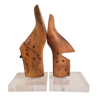 Vintage Shoe Mold Book Ends - a Pair