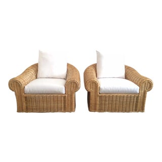 Oversized Vintage Rattan Club Chairs - A Pair