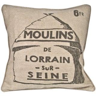 French Grain Mill Linen Pillow