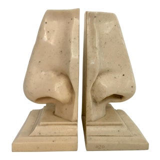 Faux Marble Dali Style Nose Bookends - A Pair