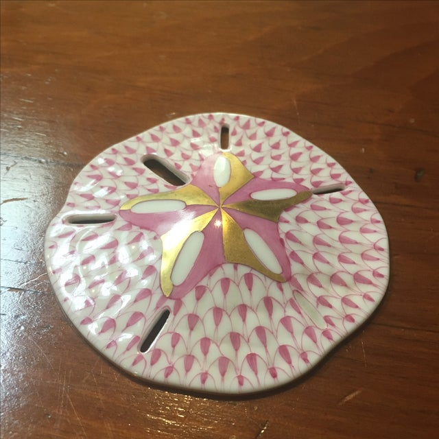 Image of Herend Pink & Gold Sand Dollar