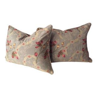 French Floral Fabric Pillows - A Pair