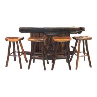 Rare Rosewood Bar and Stools