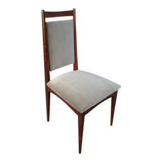 Set of Ten 1960s Brazilian Jacaranda Dining Chairs in Grey Velvet