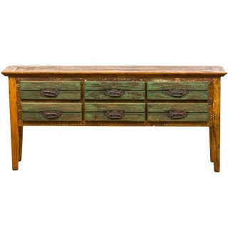 Reclaimed Solid Wood Antique Rustic Six Drawer Console Table