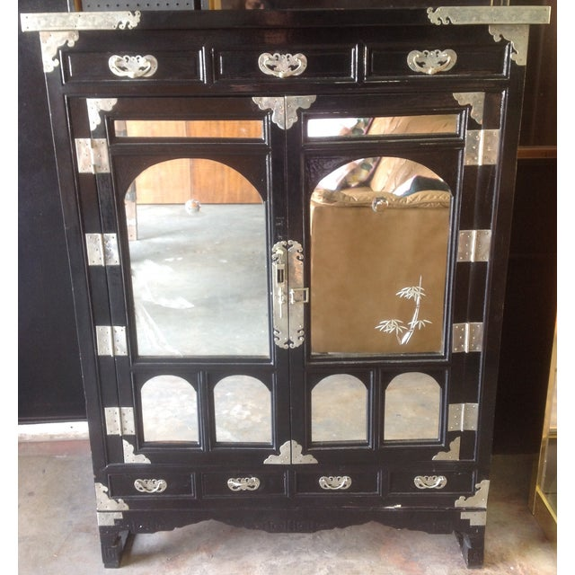 Black Lacquer Chinoiserie Cabinet - Image 2 of 10