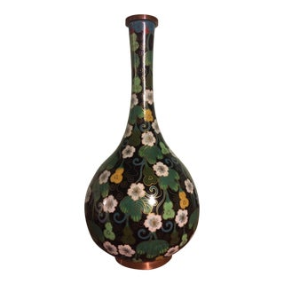Cloisonné Vase in Black, White, and Green
