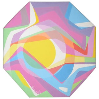 Octagonal Abstract Oil on Canvas, 1970s